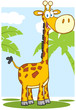 Happy Giraffe Cartoon Mascot Character With Background