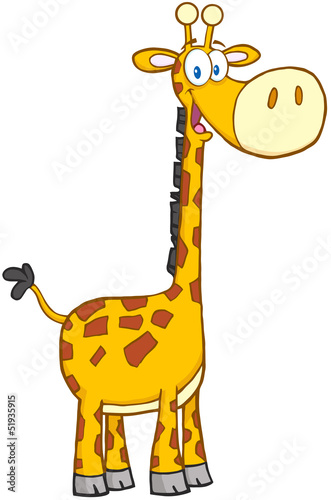 Happy Giraffe Cartoon Mascot Character