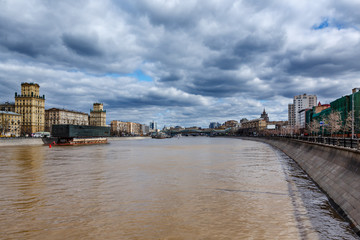 Moscow River Embankment and Khamovniki Cityscape, Moscow, Russia