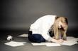 beautiful female student writing on paper