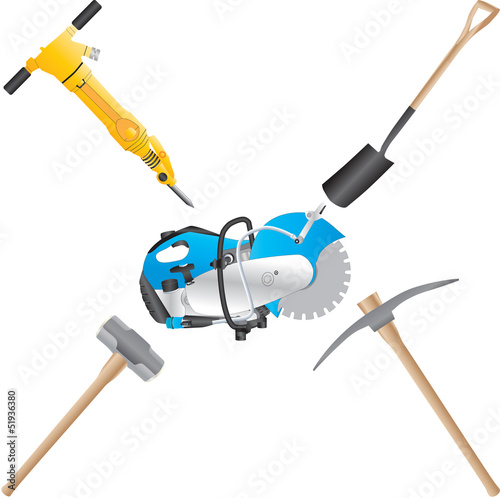 A Jack Hammer,Stone Saw,Shovel,Pickaxe,and Sledge Hammer