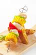 Shish kebab and potato wedges