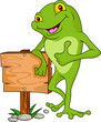frog with black sign board