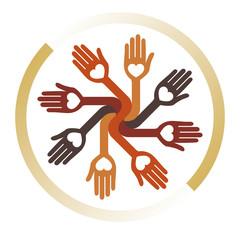 Loving circle of hands design.