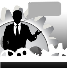 businessman on abstract technical background