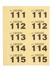 page of yellow raffle tickets