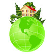 Illustration of house on green earth
