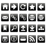 White web icons on black squares
