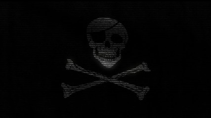 Animation of a pirate flag with numbers running.
