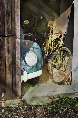 old car and bike