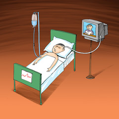 Sick man resting at hospital bed with intravenous saline solutio