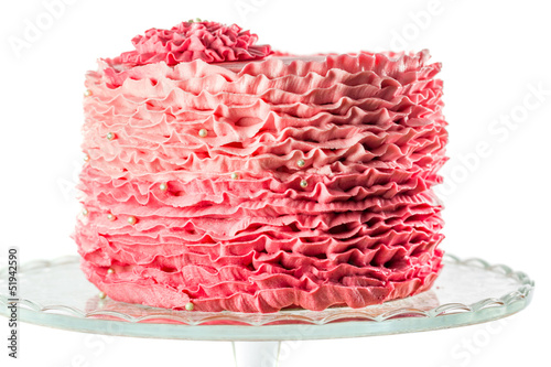 Chocolate mud cake decorated with pink ruffle pattern