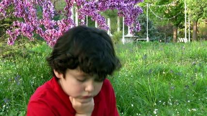 Little boy boring