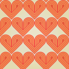 Seamless geometrical background with striped retro hearts. Eps10