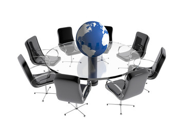 Round table globe office