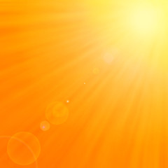 Background  with warm sun and lens flare