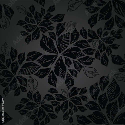 Seamless charcoal leaves wallpaper pattern