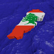 Lebanon map flag in abstract ocean illustration
