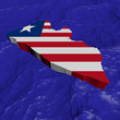 Liberia map flag in abstract ocean illustration