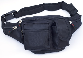 Nylon waist pouch on white background