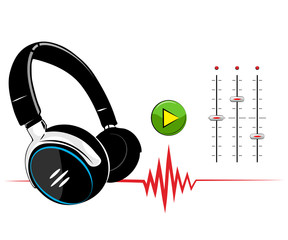 Headphones on white background. Music background.