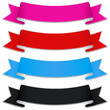 Collection of bands with texture in pink, red, blue and black