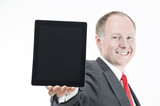 Happy businessman presenting (sth on) digital tablet