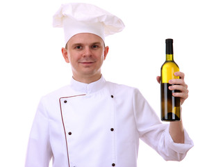 portrait of chef with wine isolated on white