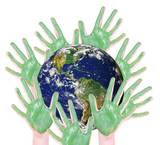green hands around a globe: parts of this image furnished by NAS poster