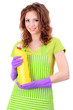 Young woman wearing rubber gloves with cleaner, isolated