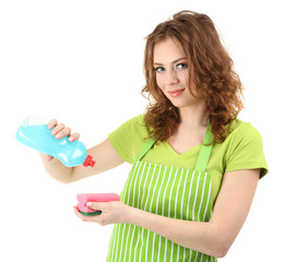 Young housewife with cleaner and sponge isolated on white