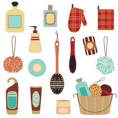 Retro bathroom cosmetics set