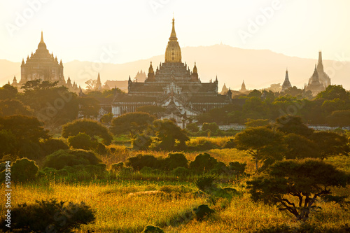 Silhouette of Buddhist Pagodas at sunrise, Bagan, Myanmar..