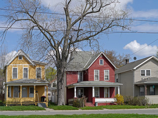 Older houses with colorful siding