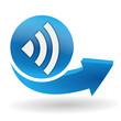 réseau sur bouton web bleu