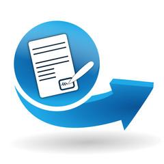 signature sur bouton web bleu