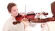 Two teenager playing the violin, studio shot