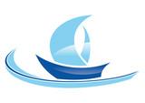 blue sailing boat