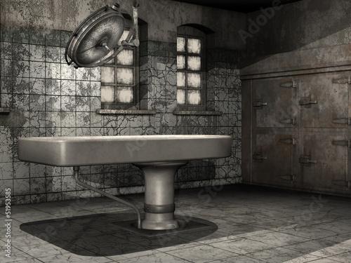 Stół w opuszczonej kostnicy