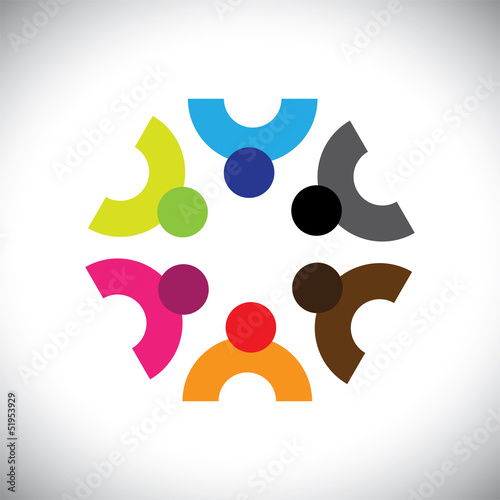Colorful design of a team of people or children icons
