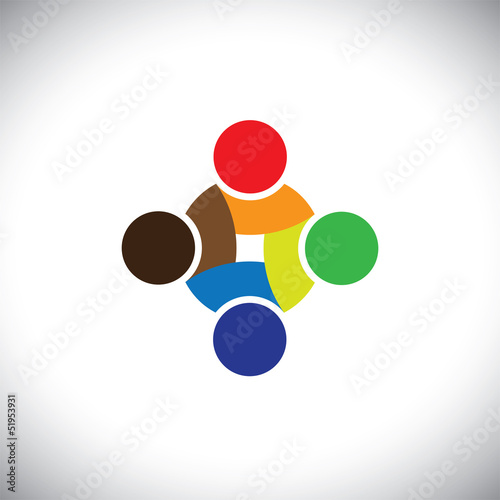 Colorful design of people symbols working as team & cooperating