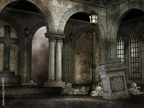 Gotycki dziedziniec z czaszkami