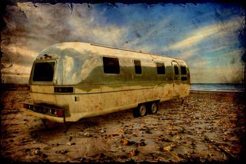 Retroplakat - Camping am Strand