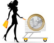 Donna con carrello Euro