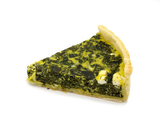French quiche pie on a white background
