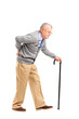 Full length portrait of a senior gentleman walking with cane and