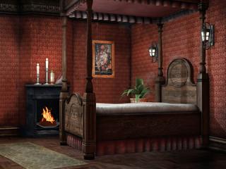 Sypialnia retro z kominkiem i świecami