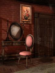 Pokój retro z toaletką i krzesłem