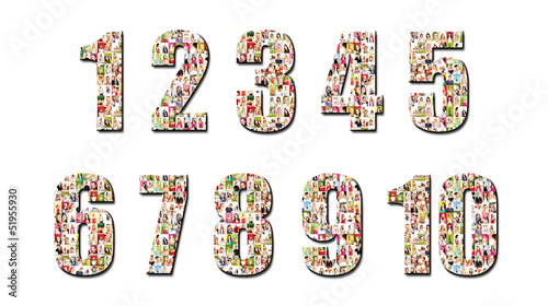 lot of people portraits - numbers