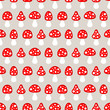 Seamless Pattern Fly Agarics Red/Beige